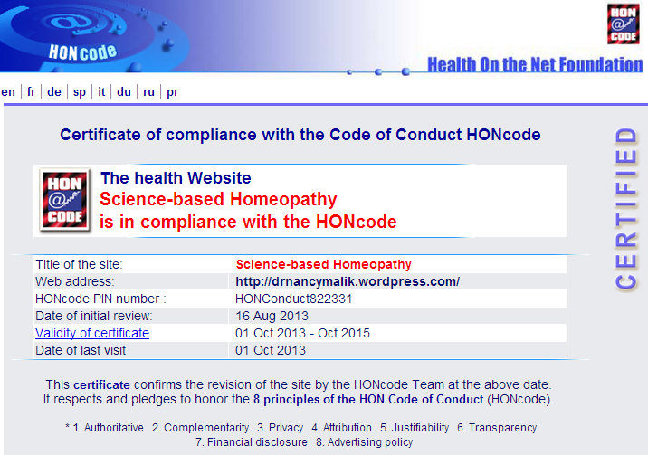 Science-based Homeopathy HONcode certificate