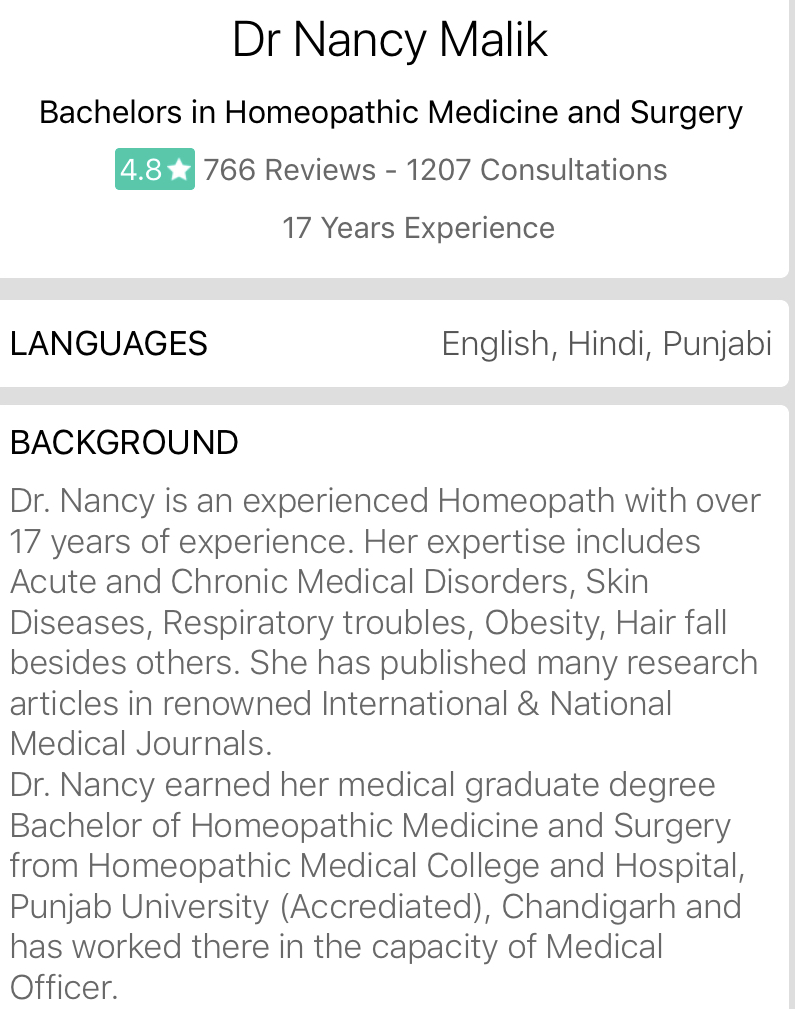 Dr Nancy Malik on DoctorInsta
